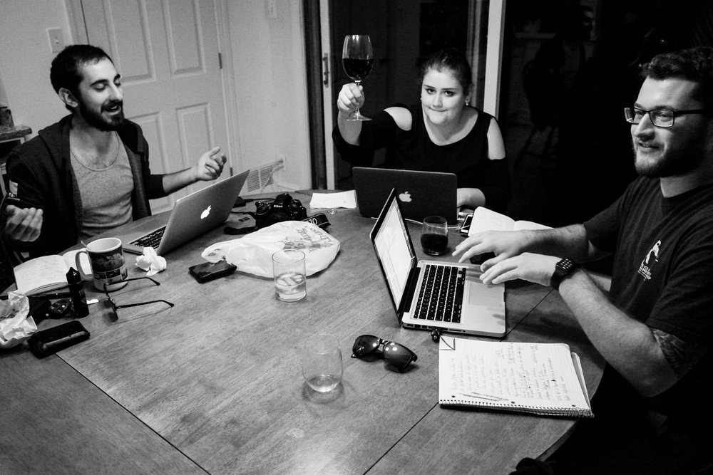 Dan, JuliAnna, and myself write blogs after day two of the D.C. trip. Photo by Cal Carry.