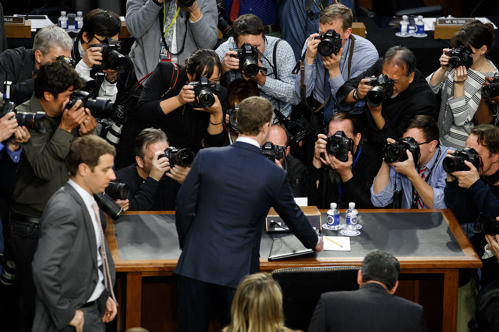 Facebook co-founder, Chairman and CEO Mark Zuckerberg, 33, testifies before a combined Senate hearing in the Hart Senate Office Building on Capital Hill, April 10, 2018 in Washington, DC. It is reported that 87 million Facebook users had their personal information stolen by Cambridge Analytica, a British Consulting firm linked to President Donald Trump's campaign. (Photo by Bryan Bennett)