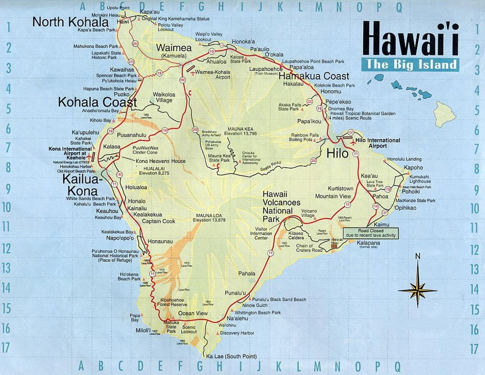 Click for a larger map of The Big Island