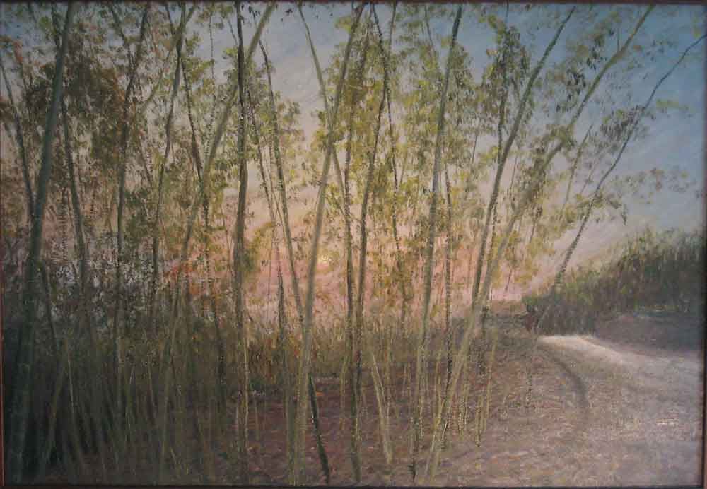 The Evening Glow and Bamboo 綠筱照夕暉 林彥甫