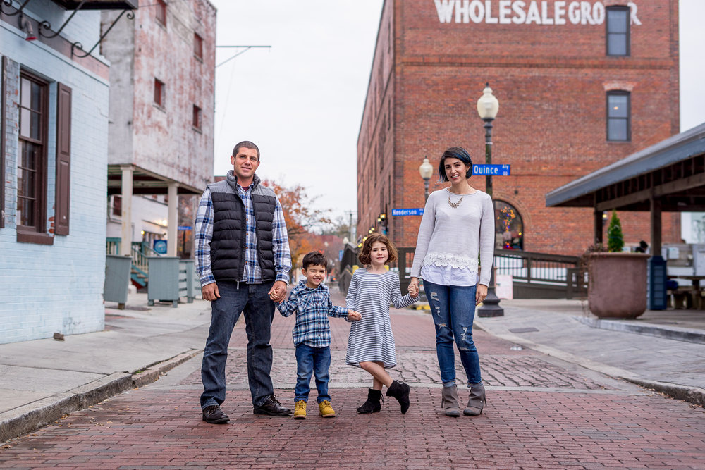 My best friend and her gorgeous family downtown Wilmington. A dreary day but a cool backdrop. I love the monochromatic colors here.