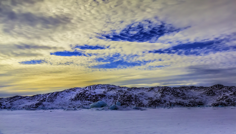 The Beautiful Greenland Sky Above The Great Isfjord