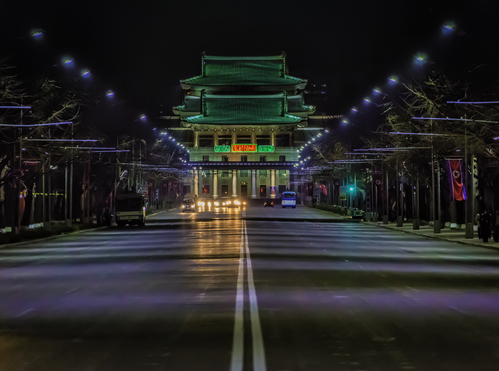 Pyongyang Grand Theater At Night