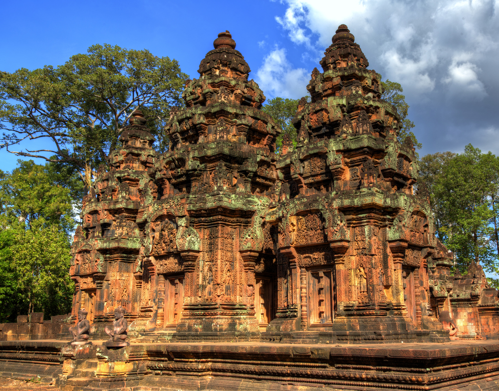 The remnants of the ancient temple of Banteay Srei.