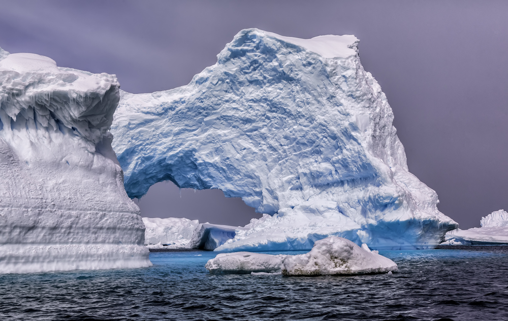 Stunning display of an iceberg, drifting at sea.