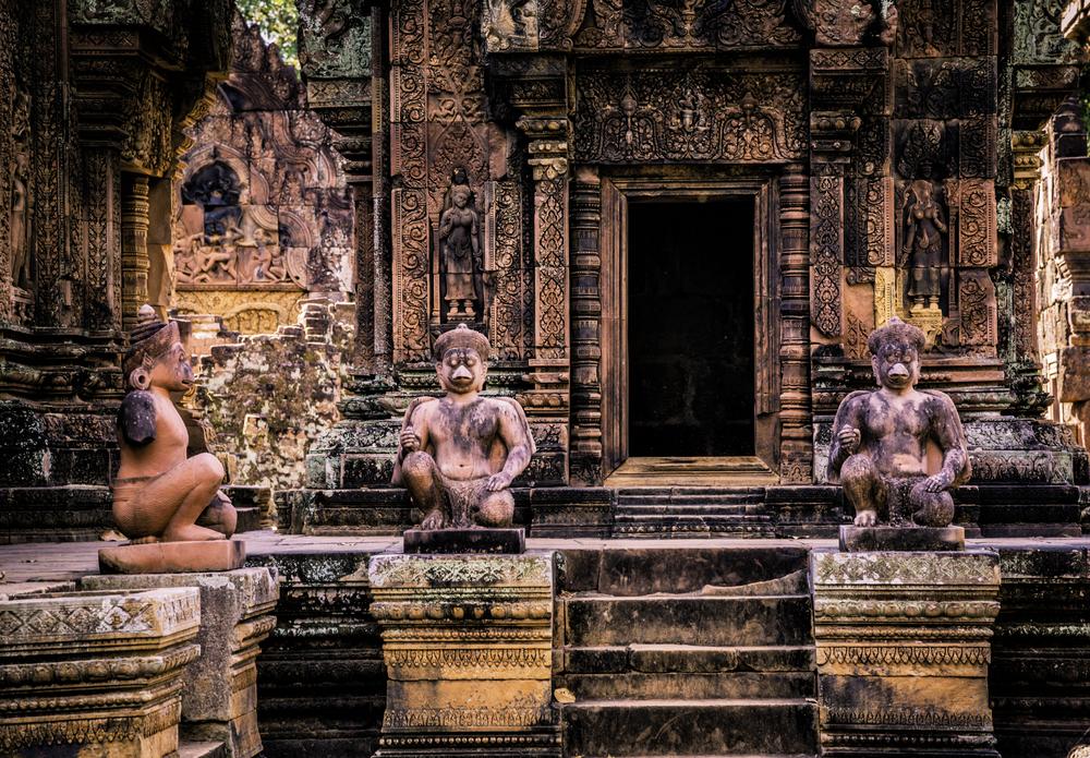 Inside Banteay Srei temple, a UNESCO World Heritage Site.