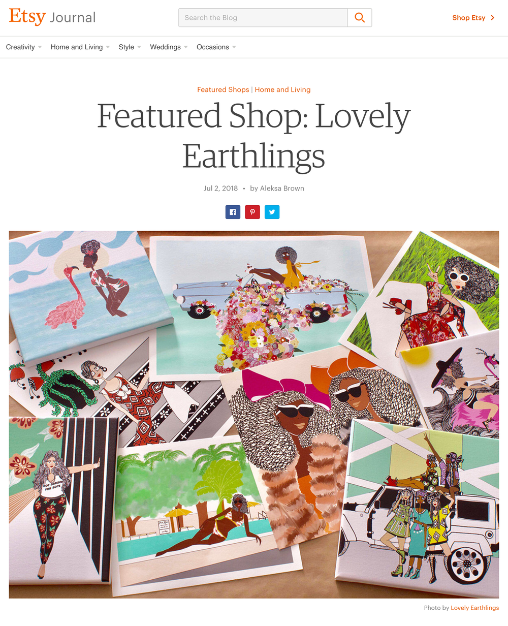 Click here to read article:   https://blog.etsy.com/en/featured-shop-lovely-earthlings/