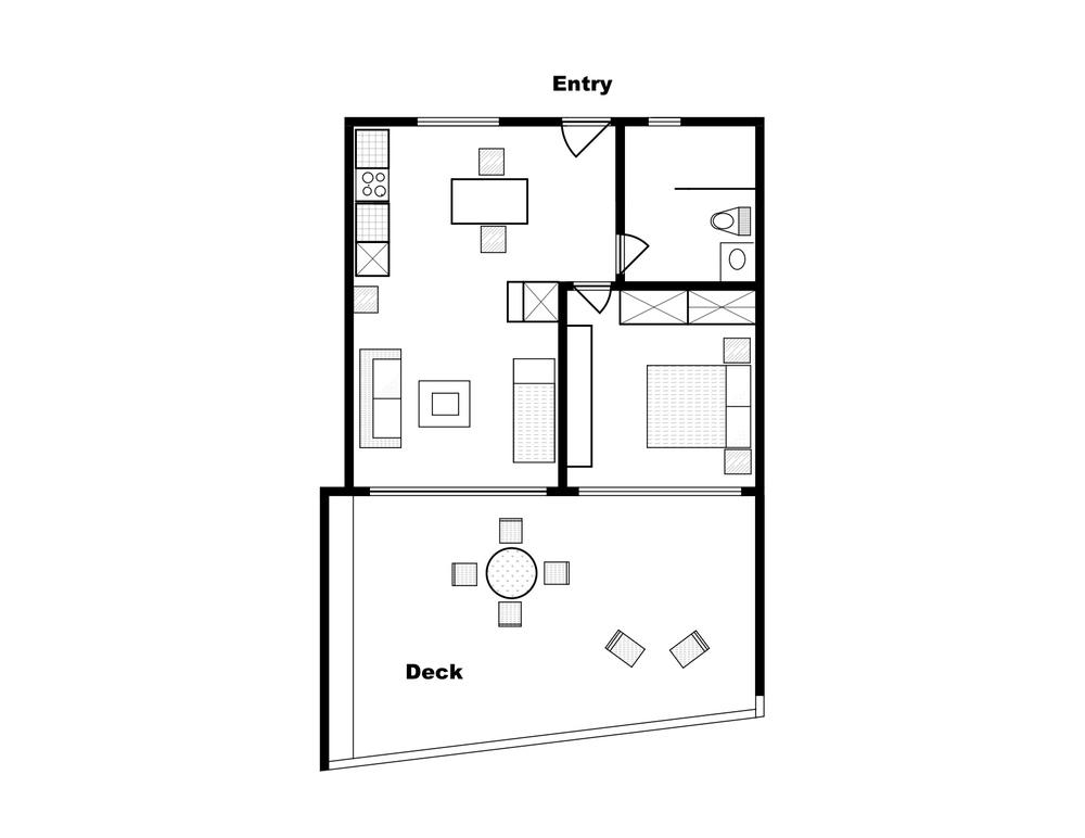 """Grundriss von Alegria. Die private, überdachte Aussichtsterrasse (""""Deck"""") ist fast so gross wie die eigentliche Wohnfläche. Das betonierte und mit Gras bedeckte Dach erstreckt sich fast über die gesamte Terrasse."""