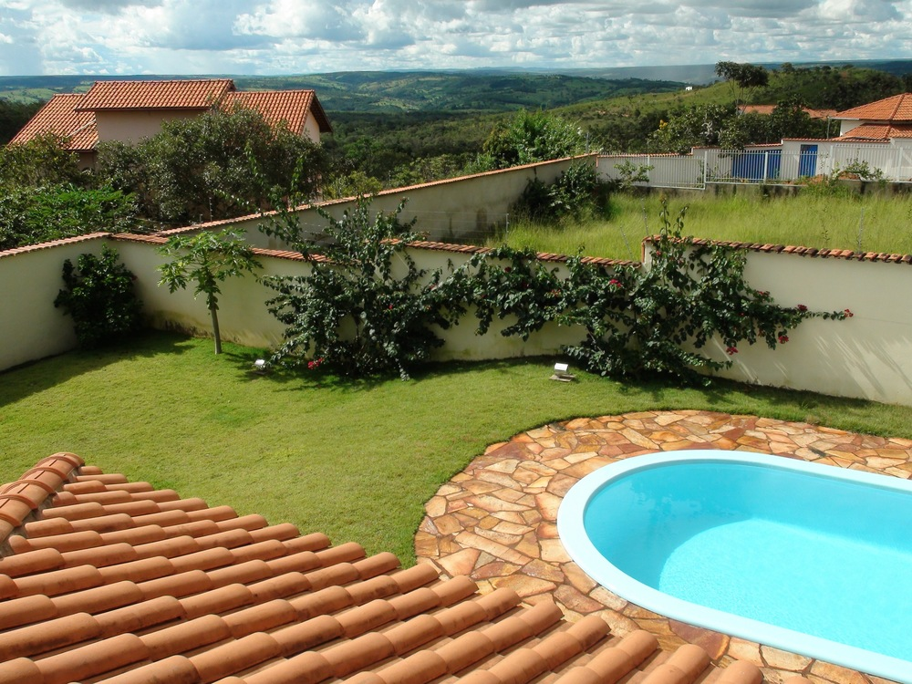 "Looking from the covered bedroom terrace of ""Casa de Luz"" in Abadiania toward the ""Waterfall"" region of the Casa de Dom Inacio."