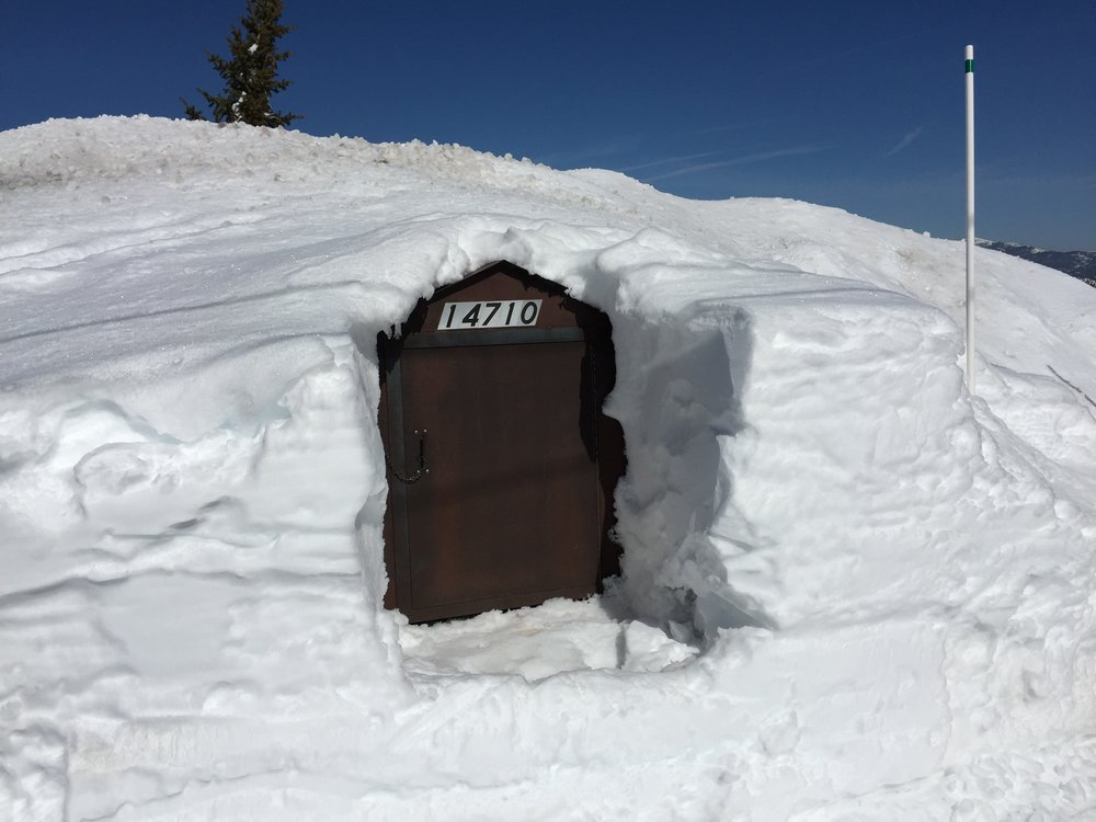 "Alta Vista's ""Bear Box"" (for deposit of garbage and recyclables) -- sometimes needs a bit of shoveling"