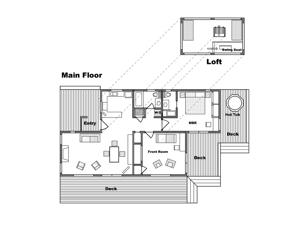 Floor plan of Casa Pacis. A detached garage/annex building on the NE side of the property is not shown. The loft is not a sleeping area for renters. The detached garage (not shown) is accessible to renters for storage; but the rest of that annex is excluded from the rented space and remains vacant during rental periods.