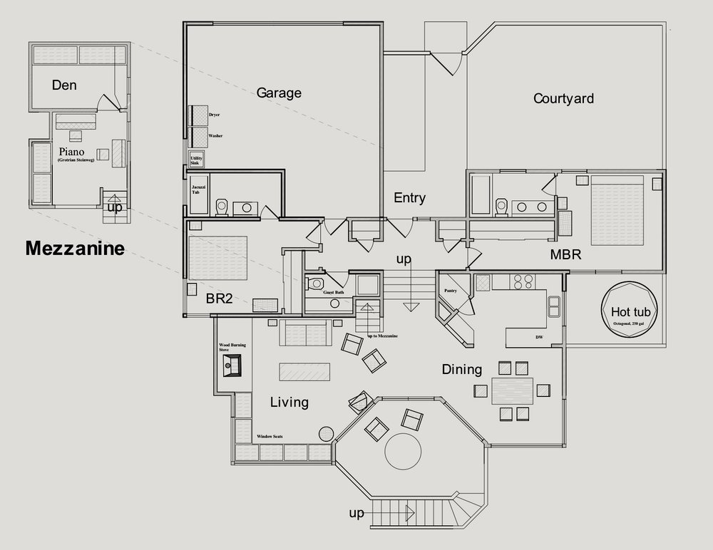 Floor plan of Bella Vista at The Sea Ranch. The mezzanine with piano is above the central bath, the entry/closet hallway, the closet of BR2 and the garage. The Den and an apartment (not shown) underneath the Living Room are not part of the rented space and remain vacant during rental periods.