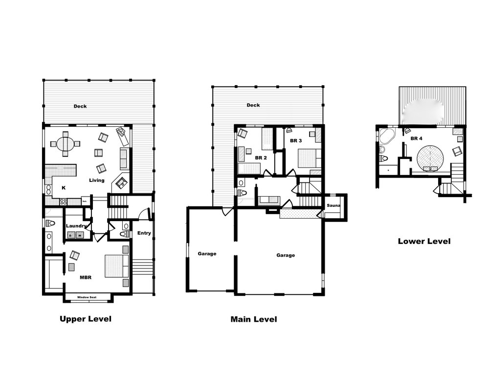 Floor plan of Alta Vista Chalet. Deck railings are glass -- rimless at the top -- to maximize the views. The sauna, accessible through the garage, is underneath the entry. The lower level deck is at grade and has no railing.