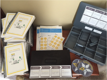 Our final products included a cash box (right), training guide (center) and the financial journal (left).