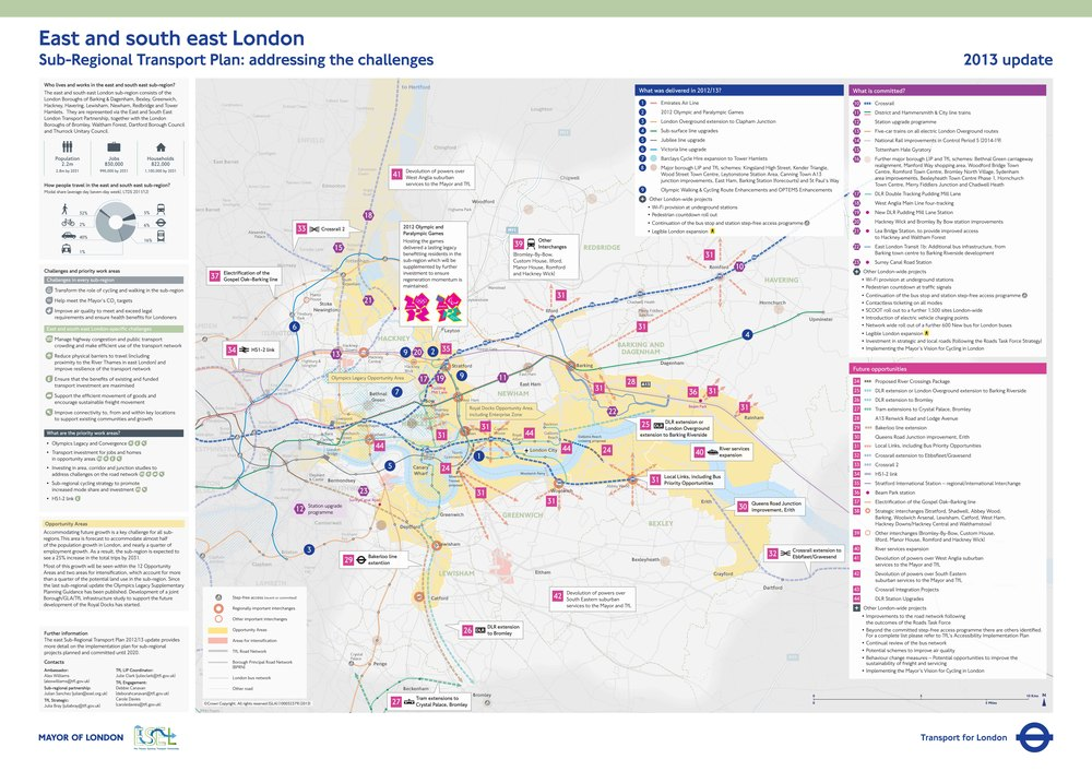 Above: A0 Poster of Sub-Regional Transport Plan for East and south east London Below:     A few pages of the SRTP report for east and south east London