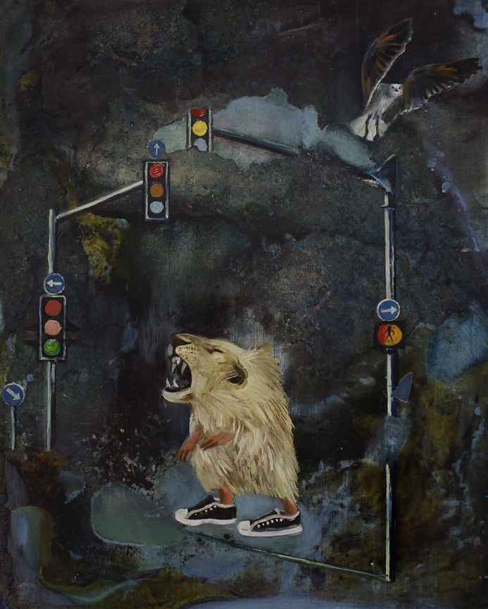 Roar; 2011; oil and mixed media on panel