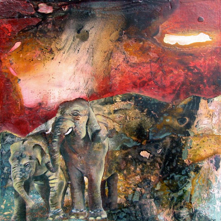 Elephantasma; oil and mixed media on panel