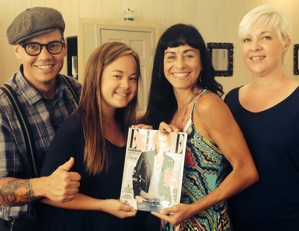 Some of our happy team celebrates our ELLE Magazine recognition!  (From L to R: Jason, Reiko, Dawn & Selena)