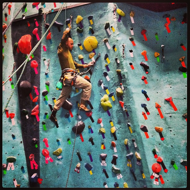 Lead climbing at Brooklyn Boulders. Source: my Instagram.