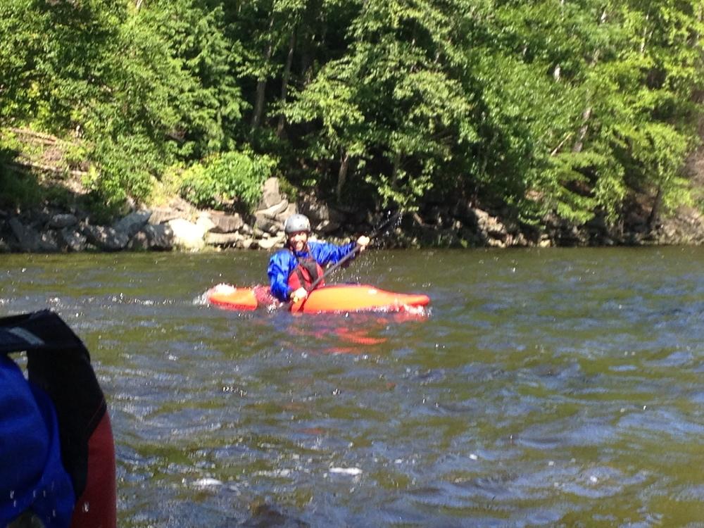 Whitewater kayaking class III rapids on the Deerfield River.
