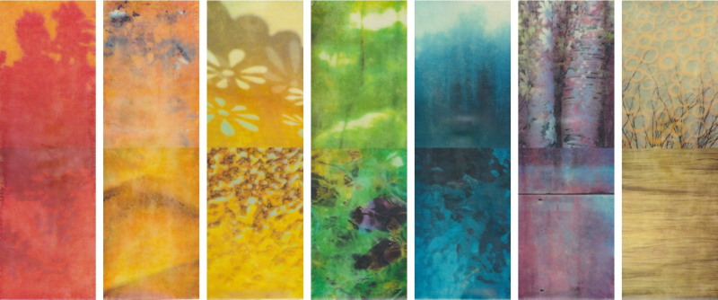 On the Horizon by Erin Keane : photography with encaustic beeswax : 21 x 49 inches