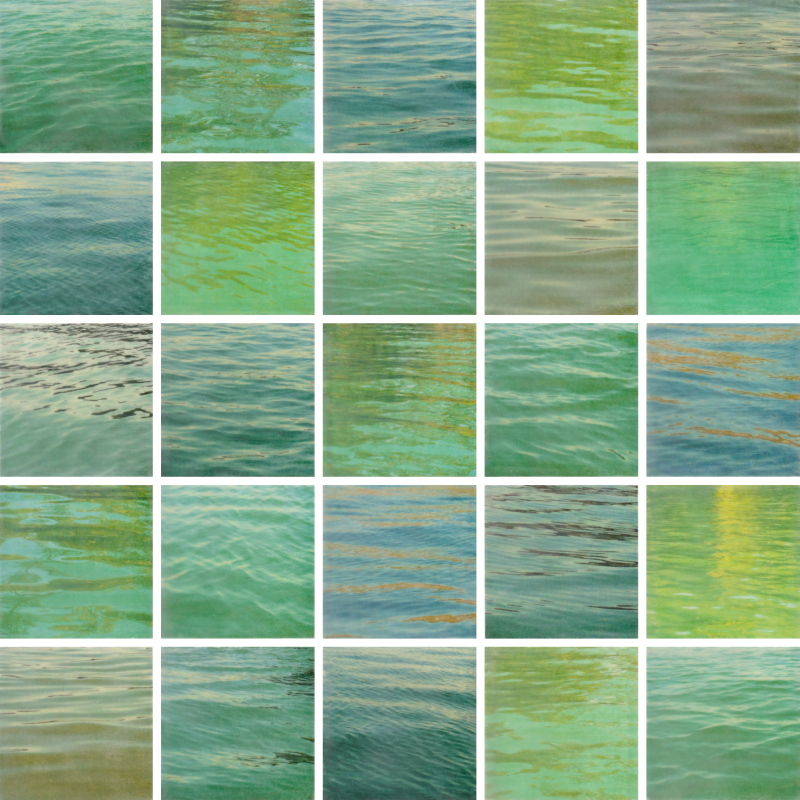 Written on Water by Erin Keane : photography with encaustic beeswax : 40 x 40 inches