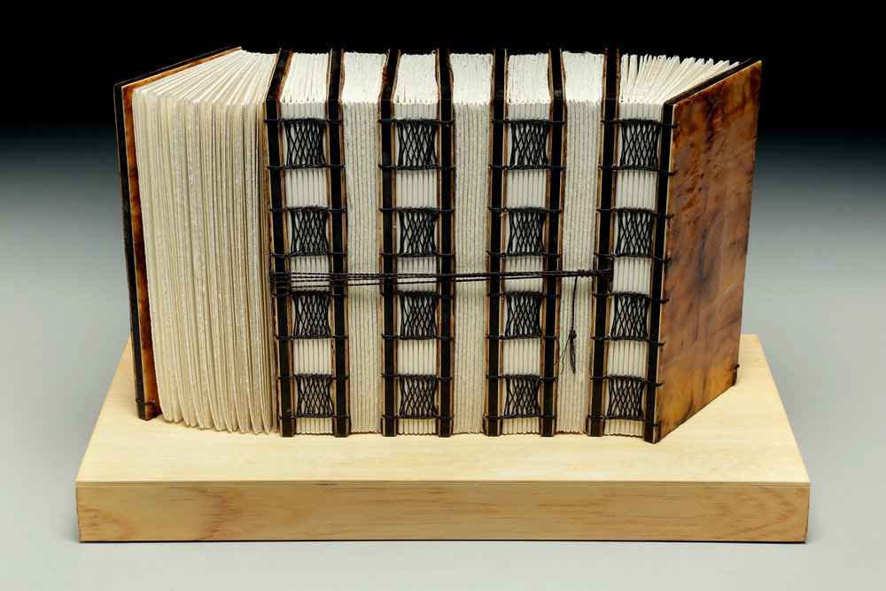 Gathering Thoughts by Erin Keane : sculptural book : encaustic beeswax covers : 16 x 8 x 9.5 inches