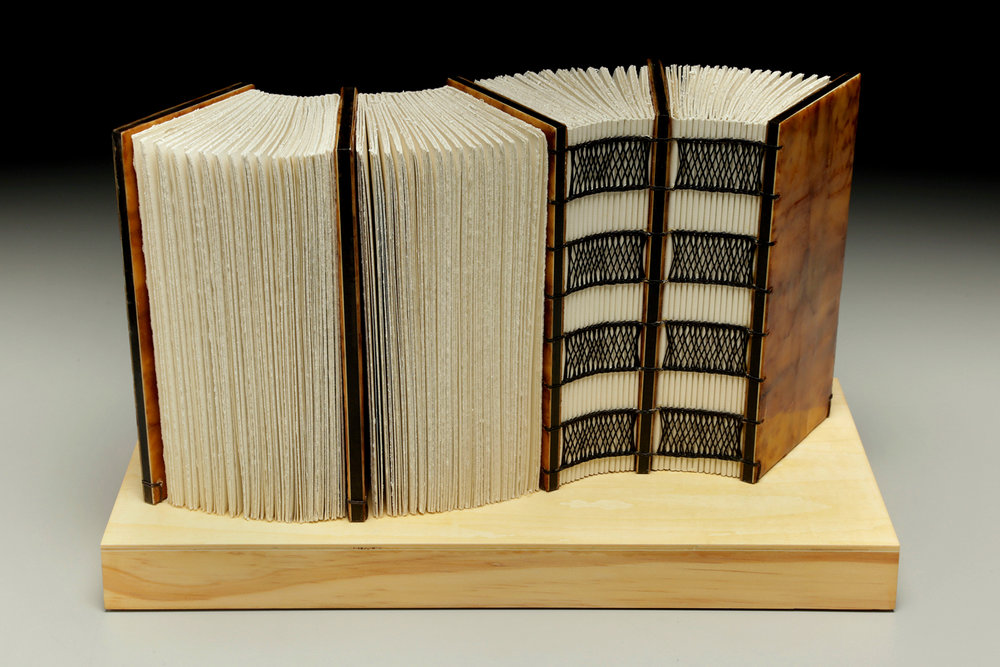 Flow Like Water by Erin Keane : Navigating Our Humanity : sculptural book : encaustic beeswax covers