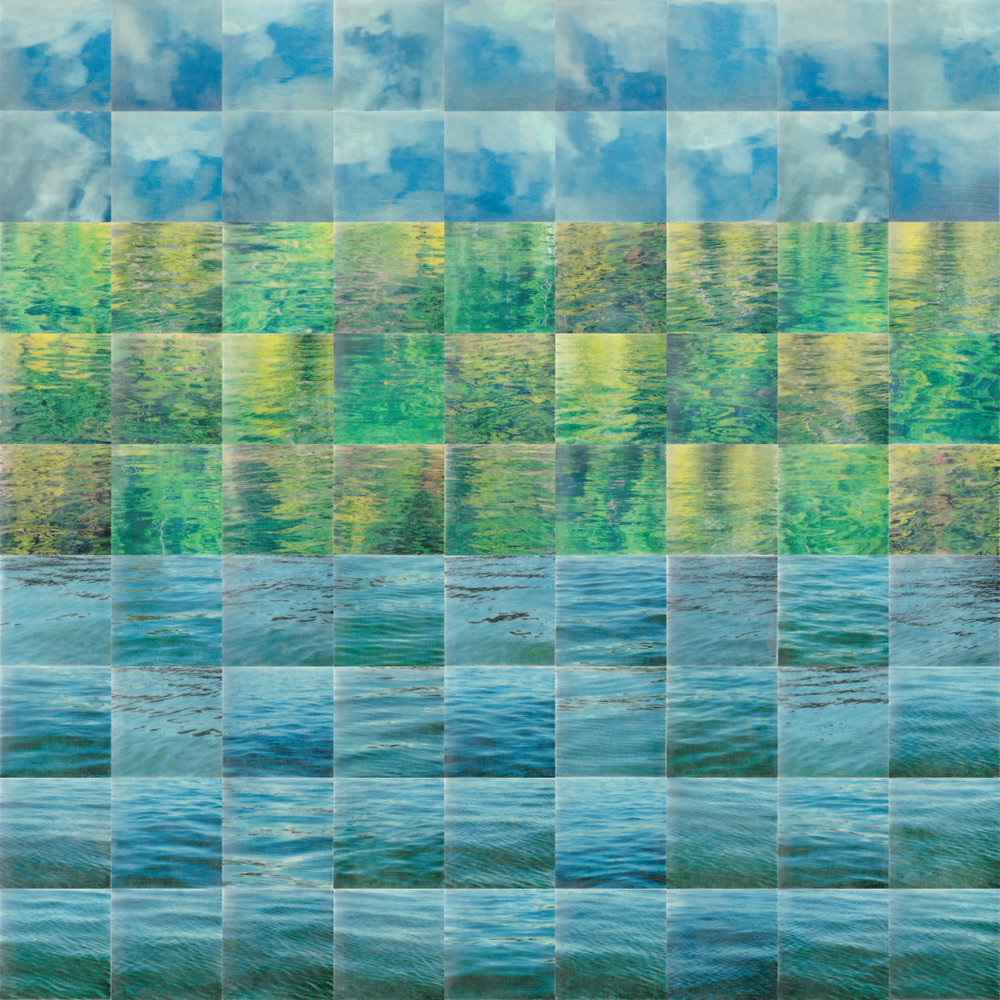 Lakescape by Erin Keane : photography with encaustic beeswax : 37.5 x 37.5 inches, framed