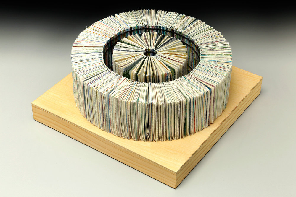 Evidence of Path by Erin Keane : sculptural book : encaustic monotype prints : 12 x 12 x 5 inches
