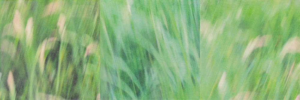 Running Barefoot by Erin Keane : photography with encaustic beeswax : 8 x 24 inches, framed