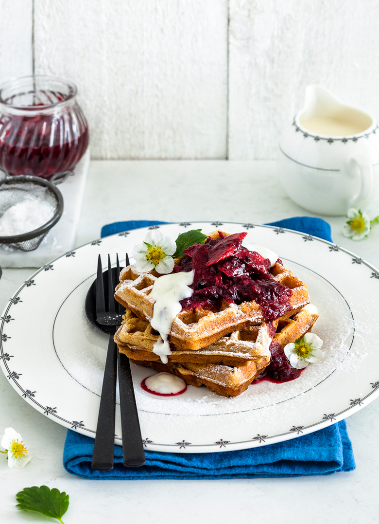 The Food Union - Rhubarb & Berry Waffles