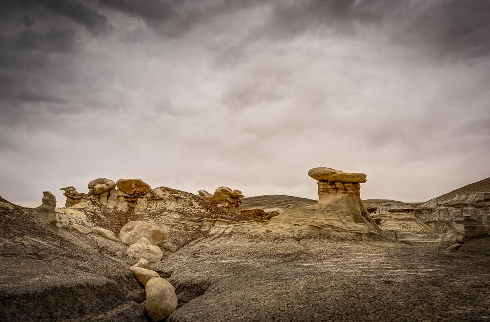Sandstone hoodoos on top of a coal bed.
