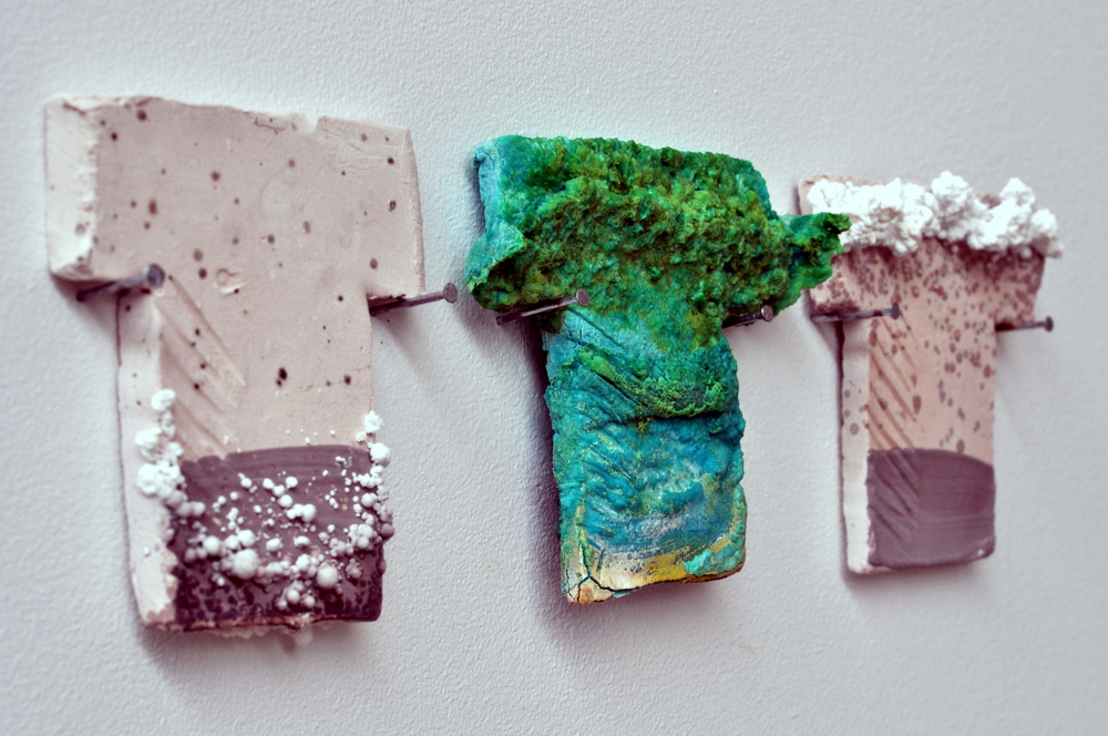 Chromatography, 2013. Porous stoneware tiles were put into water soluble materials (here sugar and copper chloride). The dissolved material moves through the porous ceramic and recrystallize as the water evaporates.