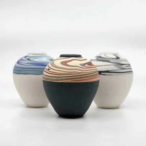 Ocean Strata Bud Vase Forest Ceramic Co