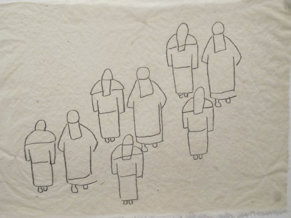 Procession #2. 8B pencil on handmade abaca paper