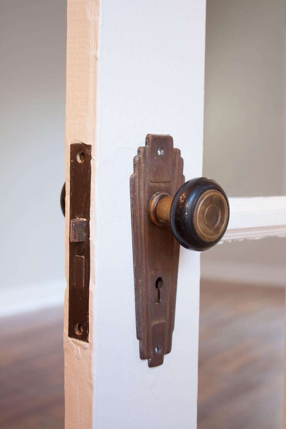 Restored vintage door hardware