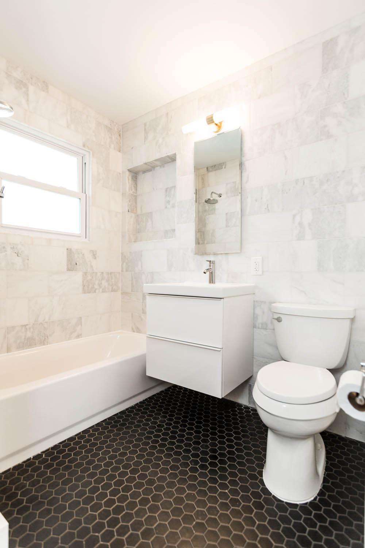 Mid century tile bathroom my web value 3208 cherrywood austin mid century modern classic bathroom with black hex tile floors ikea godmorgon shiifo