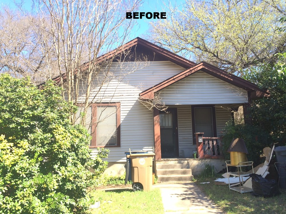 "This before pictures doesn't quite show the extremely poor condition of this ""Tear Down"".  The roof had sagged in many spot and trees limbs were sticking into the attic!"