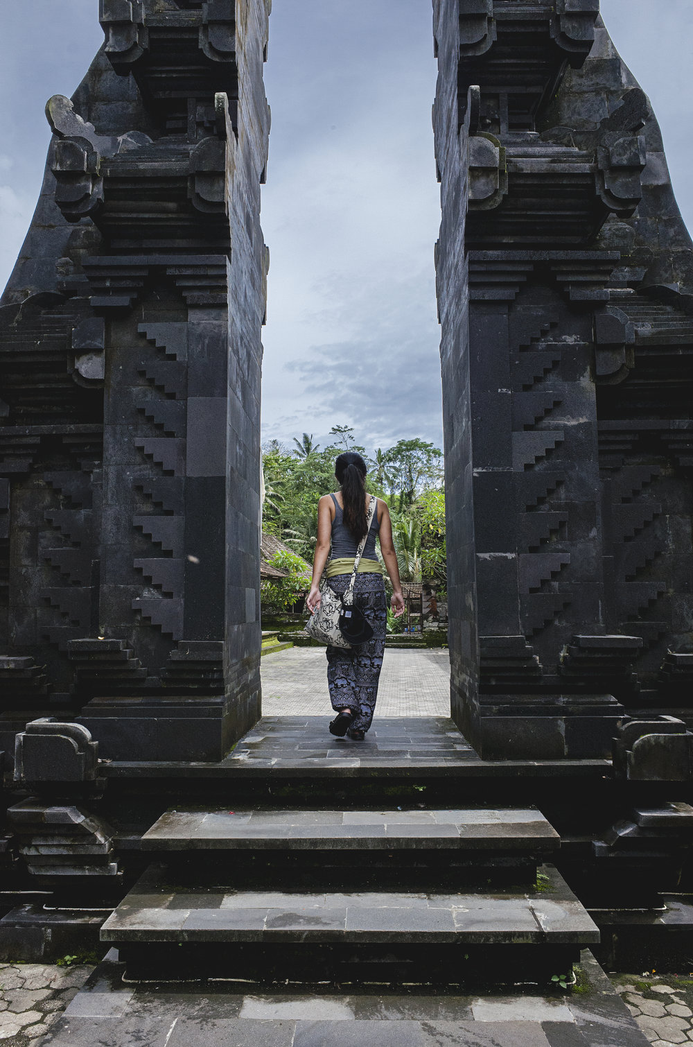 Sherrine exploring the grounds of a temple.