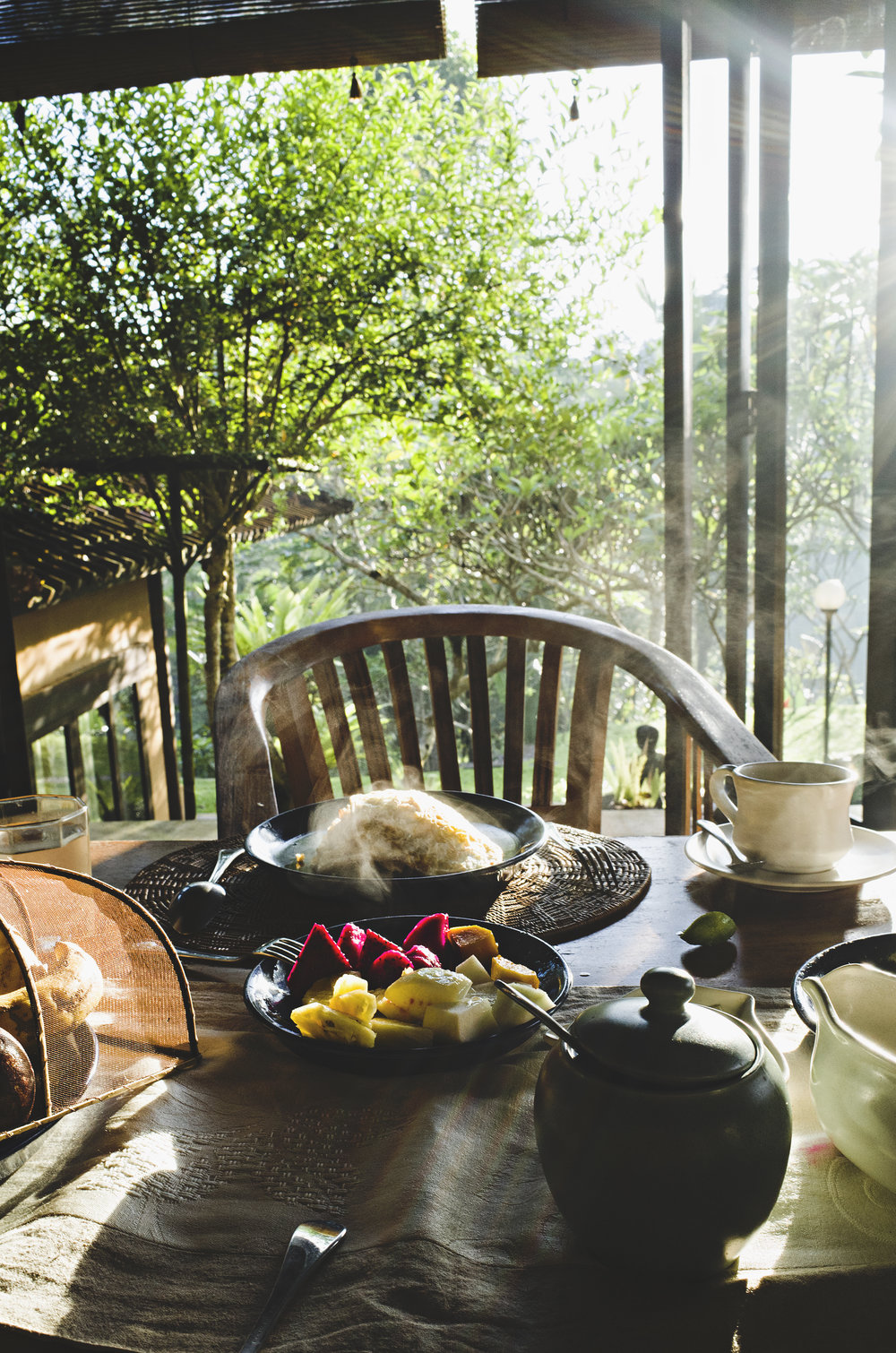 Breakfast at the Ubud villa.