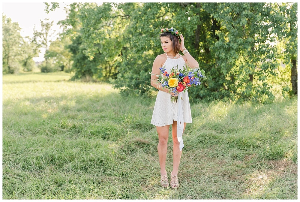 summer engagement flower crown texas