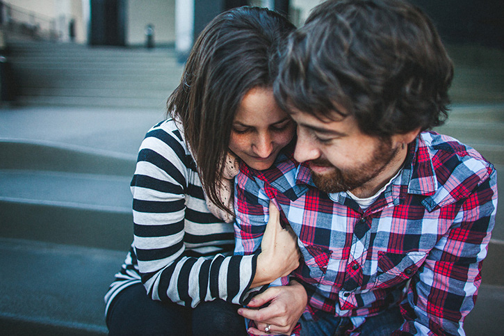 Downtown Denver Engagement Session snuggling
