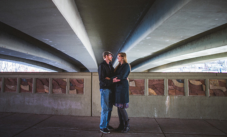 Denver Wedding Photographer Under the bridge engagement
