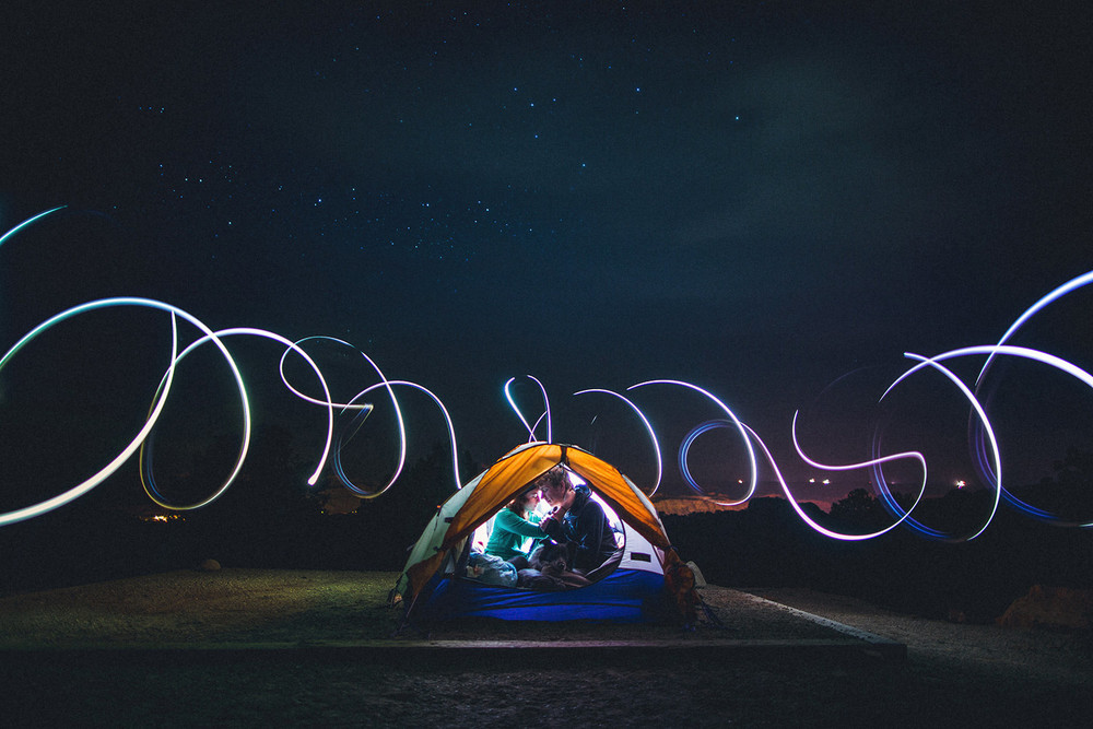 camping light painting