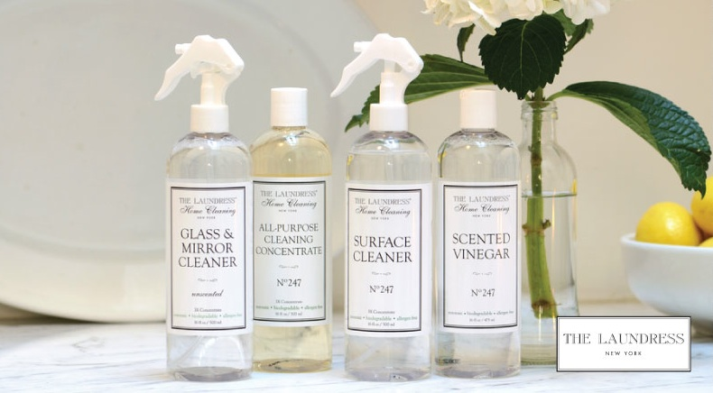 The Laundress: Glass & Mirror Cleaner, All-Purpose Cleaning Concentrate No. 247, Surface Cleaner No. 247, & Scented Vinegar No. 247.