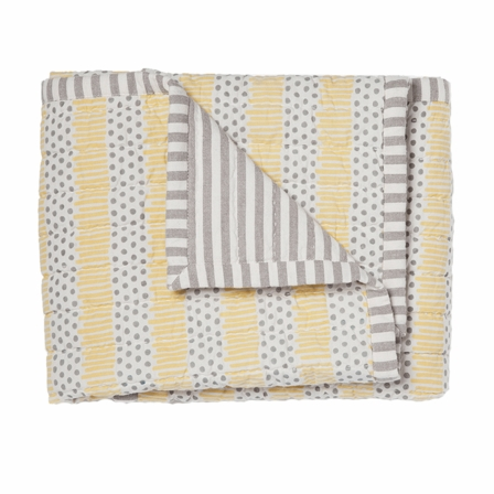 Petit Pehr Grey/Yellow Quilted Nursery Blanket