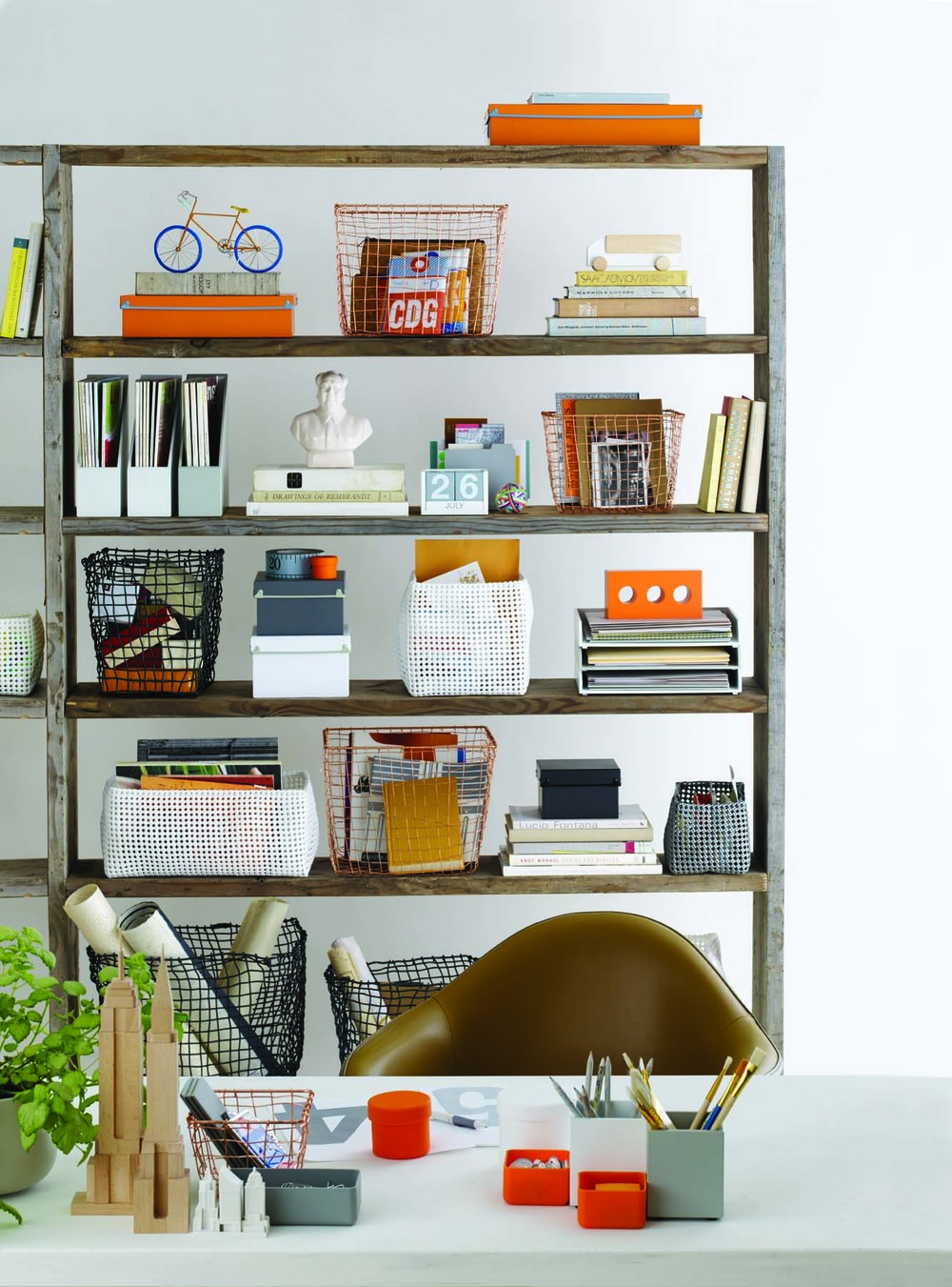 Get the look: Design Ideas : Document boxes, Copper wire baskets, Gordian White Mesh Baskets