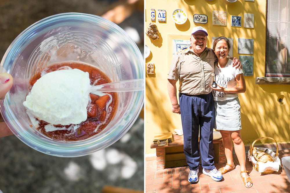 My favorite dessert - balsalmic infused strawberries with vanilla gelato.  Plus my favorite photo with Giovanni Cavalli - quite a character, he wears stretchy pants!  :)