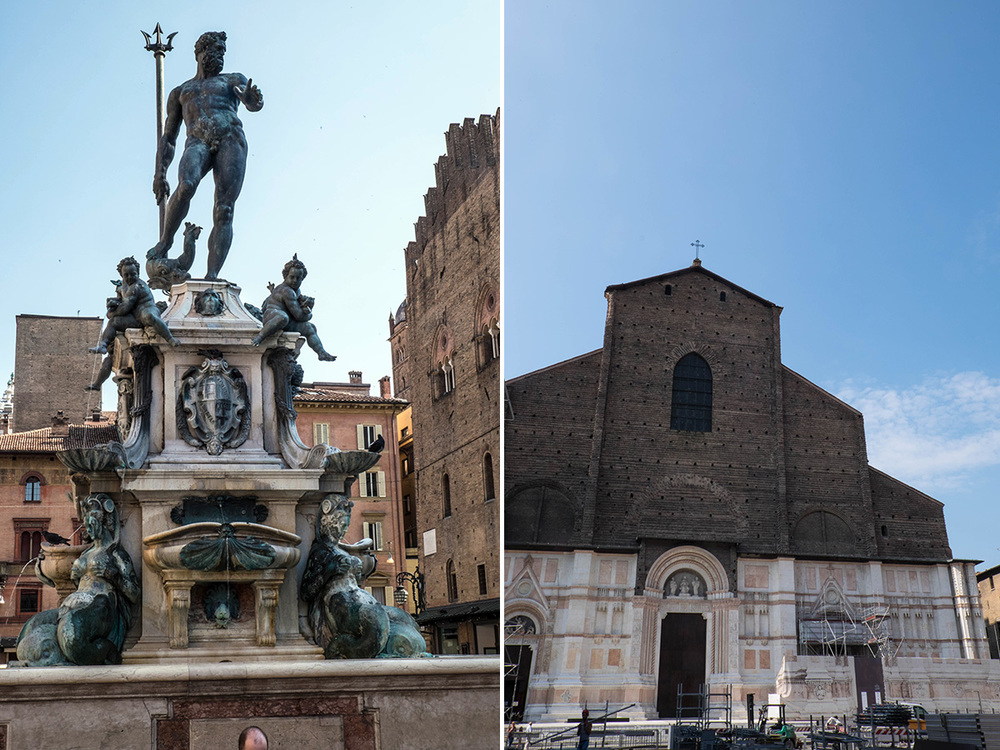 Left - Fountain of Neptune.  Right - Basilica di San Petronio is the city's largest church and construction started over 600 years ago.